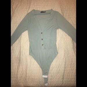 Turquoise/mint low cut body suit